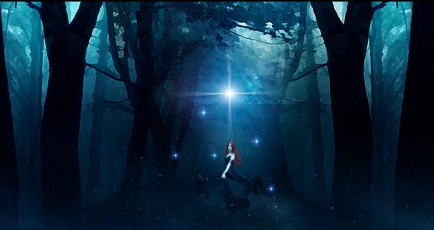 Обои Девушка стоит в волшебном лесу, by GeneRazART