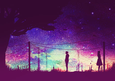 Обои Силуэты парня и девушки, стоящих друг к другу спиной на фоне ночного звездного неба, by Erisiar