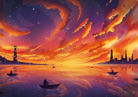 Обои Девушки в лодках плывут по морю на фоне закатного неба, в котором появляются звезды, by Erisiar