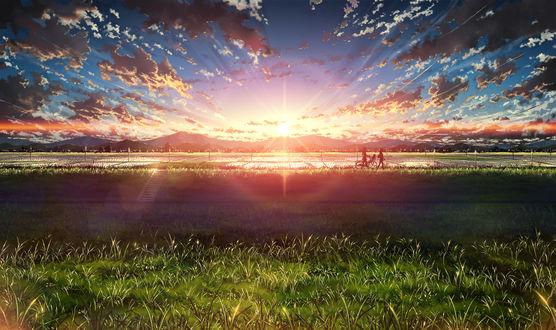 Обои Две школьницы с велосипедом идут вдоль рисовых полей в лучах закатного солнца, by BoCuden