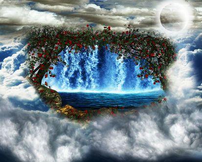 Обои Над облаками водопад в окружении цветущих деревьев, над ним Луна в облачном небе, фантасмагория