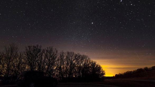 Обои Звездное небо, на горизонте восход солнца, темнеют силуэты деревьев, последние мгновенья уходящей ночи