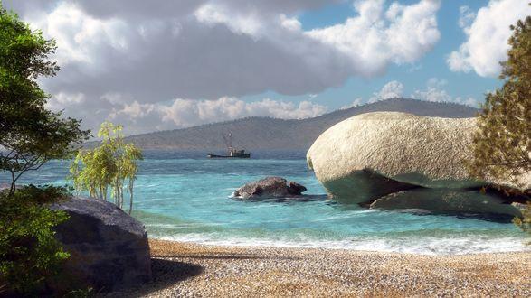 Обои Прибрежные скалы морского залива, деревья, в легкой дымке горы на другом берегу, небольшое судно