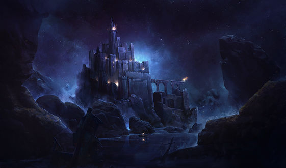 Обои Замок на фоне ночного неба, by SolFar