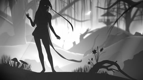 Обои Силуэт аниме девушки стоящей в темном лесу