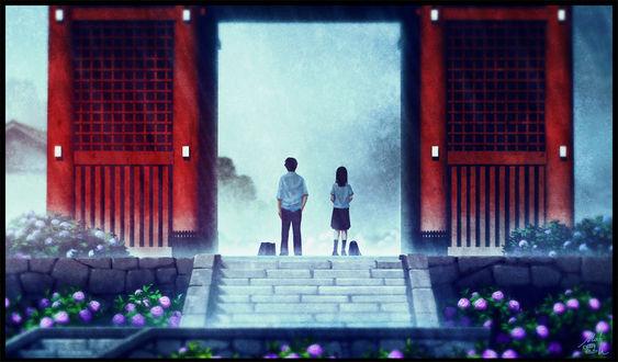 Обои Два школьника стоят в воротах храма, by mochaデザフェス【D23】
