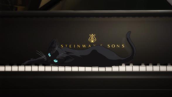 Обои Голубоглазый черный котенок лежит на клавишах фортепиано, арт к аниме Shigatsu wa Kimi no Uso / Твоя апрельская ложь