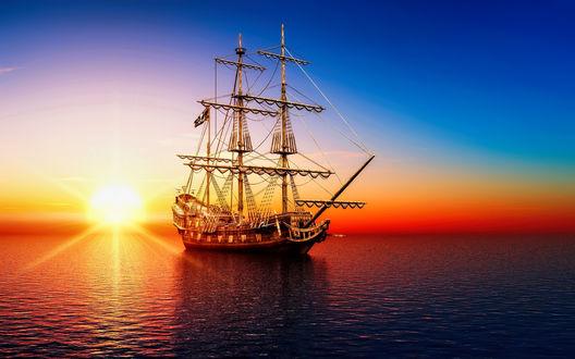 Обои Море, парусник на закате солнца