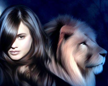 Обои Девушка с длинными волосами с нарисованным львом в профиль