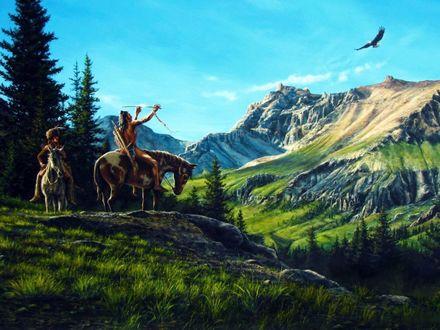 Обои Индейцы на лошадях стоят у подножия гор, один из них целится стрелой в летящего орла над горами
