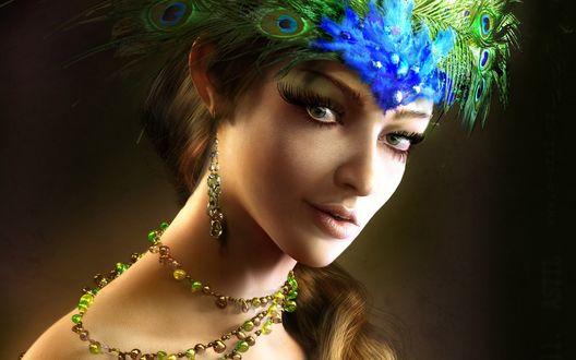 Обои Девушка с зелеными глазами, длинными ресницами с перьями павлина на голове и с зелеными бусами на шее