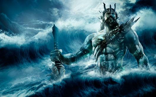 Обои Нептун / Neptunus царь морей вызывающий шторм