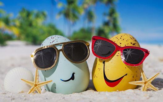 Обои Голубое и желтое яйца с ракушками, морскими звездами, и в солнцезащитных очках