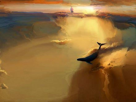 Обои Кит резвится среди облаков, вдали виден корабль