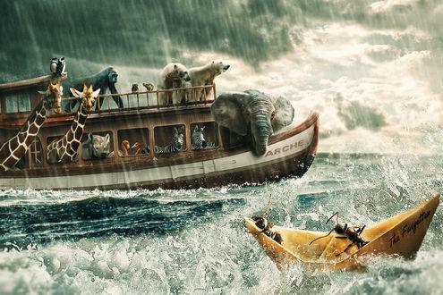Обои Животные на небольшом корабле плывут по морю в шторм под проливным дождем, рядом на бумажном кораблике плывут муравьи, by lenyca