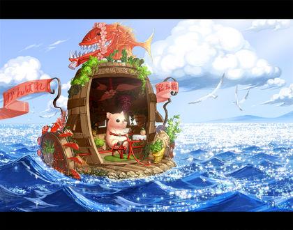 Обои Хомячок плывет по морю в корабле, сделанном из деревяной бочки, на крыше которой рыба, в небе летают чайки, by 無言