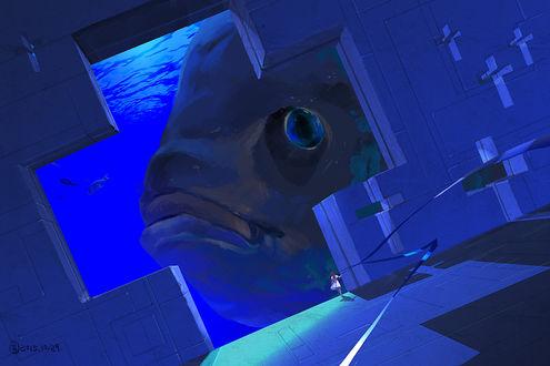 Обои Девушка стоит внутри космического корабля, затонувшего в море, мимо проплывает огромная рыба, by 無言
