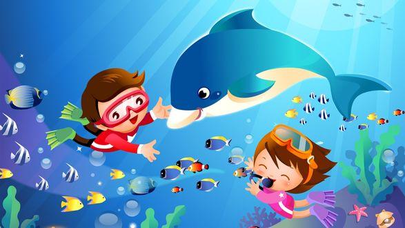 Обои Мальчик и девочка под водой играют с рыбками и дельфином