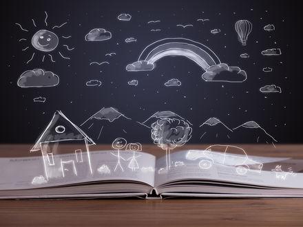 Обои Сказочный мир книг, солнце, радуга, горы, домик, машина и люди