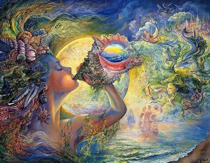 Обои Морская дева дует в ракушку, из которой выливаются сказочные персонажи, по морю плывут корабли, by Josephine Wall