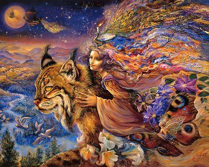 Обои Сказочная девушка обнимает огромную рысь, вокруг фантастические миры, by Josephine Wall