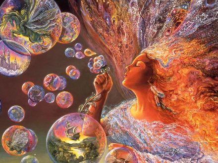 Обои Сказочная дева раздувает пузыри, заполненные фантастическими мирами, by Josephine Wall