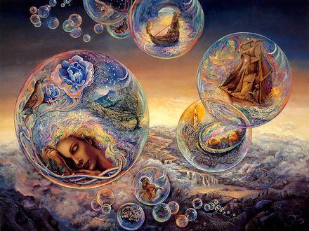 Обои Сказочные пузыри Морфея, заполненные фантастическими мирами, by Josephine Wall
