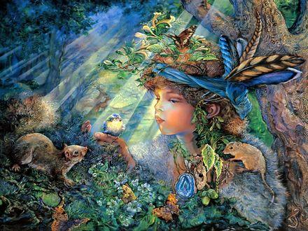 Обои Лесной эльф держит на руке птицу, вокруг него фантастический мир, by Josephine Wall