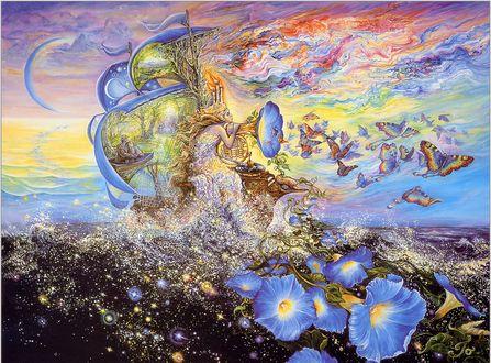Обои Морская дева плывет по морю на кораблике, и слушает патефон, из которого вылетают бабочки, by Josephine Wall