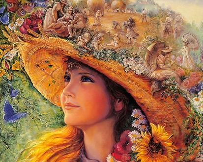 Обои Девушка-лето в шляпе, by Josephine Wall