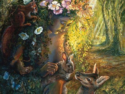 Обои Лесная фея играет с животными, by Josephine Wall
