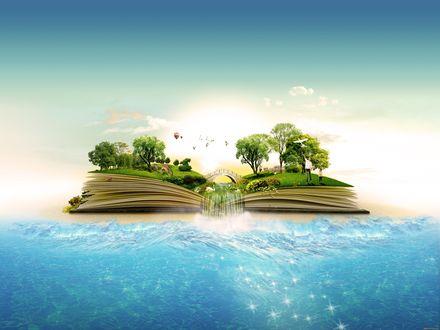 Обои Книга из которой течет водопад в океан