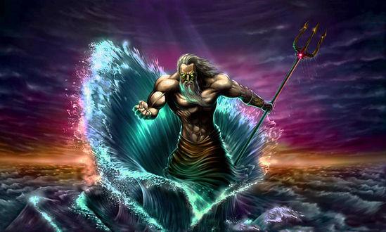 Обои Посейдон появляющийся из глубин океана с трезубцем в руке