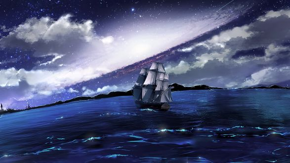 Обои Корабль в море ночью, под облачным небом