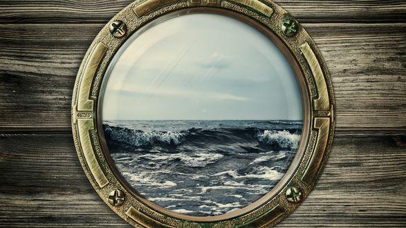 Обои Бушующее море за стеклом иллюминатора, крупный план