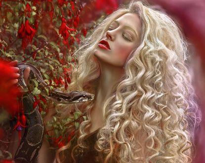 Обои Девушка-блондинка со змеей в руке, фотограф Agnieszka Lorek