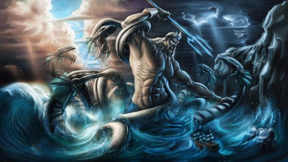 Обои Бог морей сражается с огромным морским чудовищем