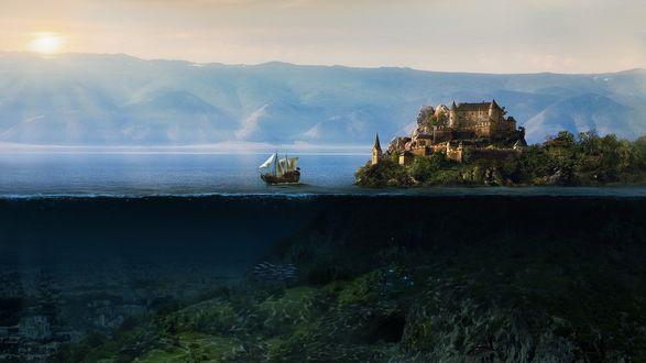 Обои Наземное и подводное царство, город на земле и город под водой