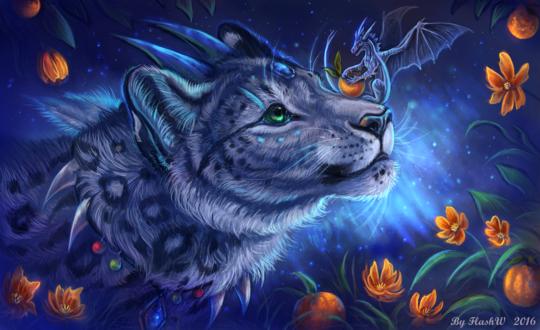 Обои Маленький дракон с мандарином сидит на мордочке у белого леопарда с рогами, by Flashw