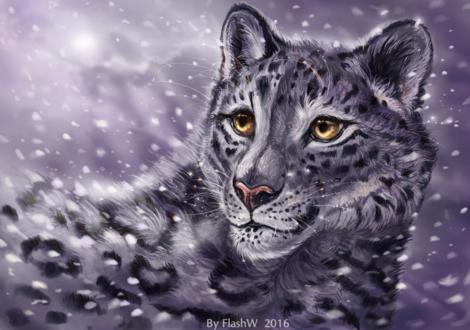 Обои Снежный барс с карими глазами под падающим снегом, by Flashw