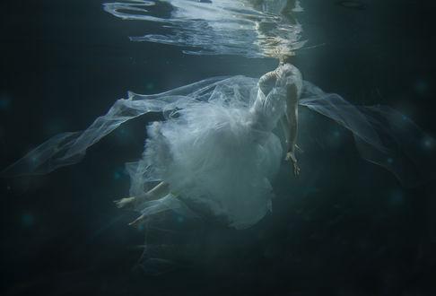Обои Девушка в белом платье под водой