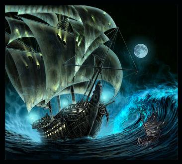 Обои К людям на тонущей шхуне в бушующем море приближается корабль - призрак