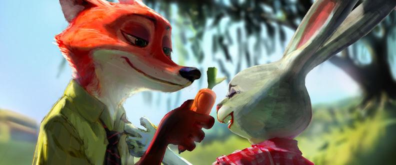 Обои Джуди Хопс / Judy Hopps и Ник Уайлд / Nick Wilde из мультфильма Зверополис / Zootropolis, by PAlee