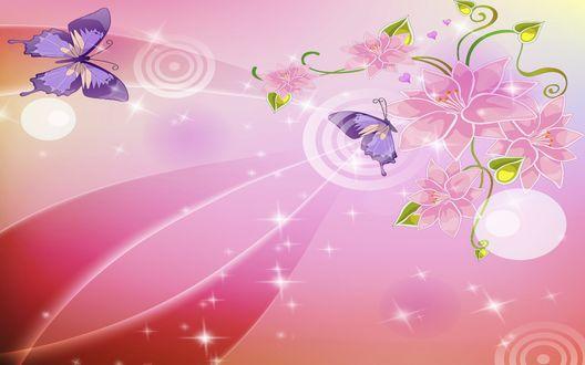 Обои Розовый фон, блики, бабочки, цветы