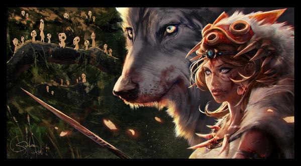 Обои Сан / San с окровавленным копьем и богиня-волчица Моро / Moro, на заднем плане видны духи леса, персонажи из аниме Princess Mononoke / Принцесса Мононоке / Mononoke Hime, art by Gianluca Rolli