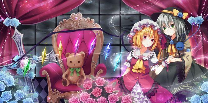 Обои Flandre Scarlet / Фландре Скарлет и Koishi Komeiji / Койши Комейдзи, персонажи из серии компьютерных игр Touhou Project / «Проект «Восток»», art by kure~pu