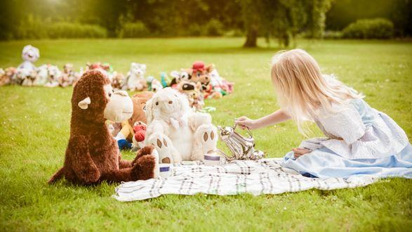 Обои Белокурая девочка сидит на летней полянке и играет с игрушками