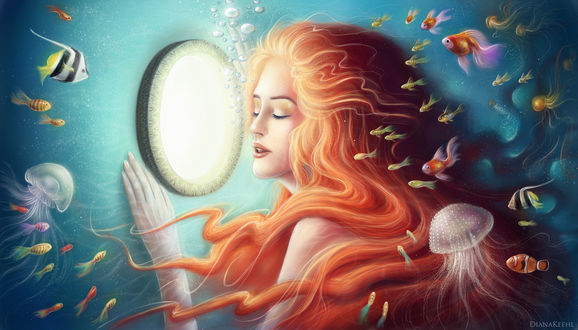 Обои Рыжеволосая русалка перед зеркалом в окружении рыб и медуз под водой, by DiyaKehl