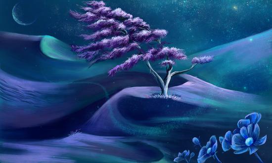 Обои Цветущее весеннее дерево на холмах, by Casselloma