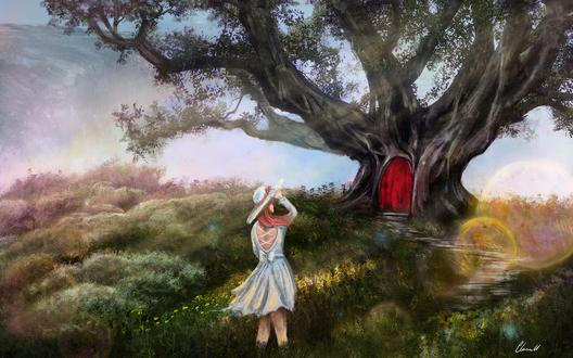 Обои Девочка стоит у тропинки, ведущей к волшебной двери в стволе дерева, by Casselloma